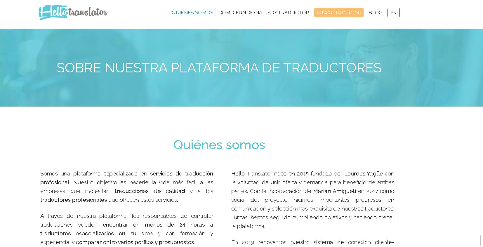 Guía para redactar las secciones de tu página web de traducción con alma emprendedora - Hello Translator 3